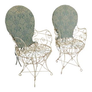 Pair Victorian Style Wrought Iron Wire Frame Patio Armchairs C1950