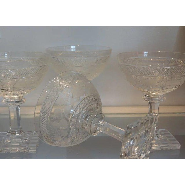 American Classical Set of 4 Antique Moser Stone Cut Champagne Stems W Bird Decoration For Sale - Image 3 of 5