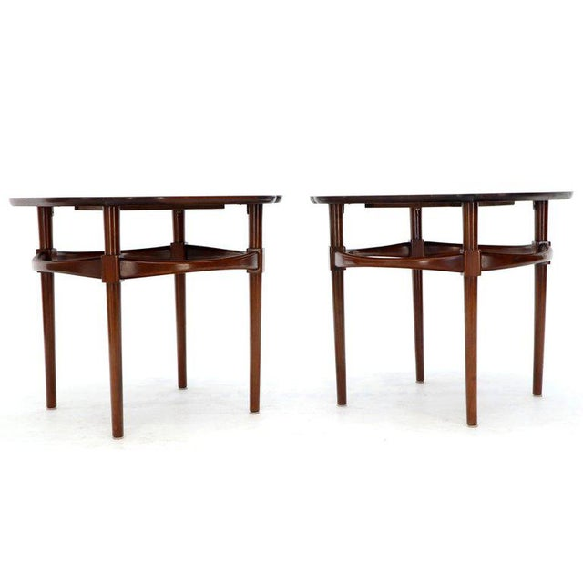 Walnut Pair of Clover Shape Tile and Walnut Top Round End Side Occasional Tables For Sale - Image 7 of 13