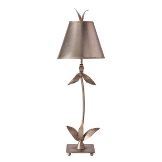Red Bell Table Lamp in Distressed Silver For Sale