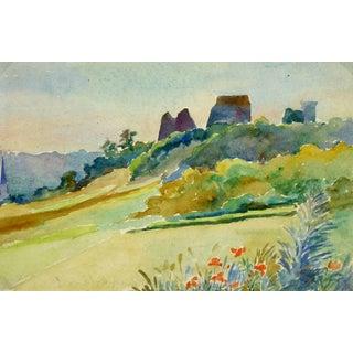 Watercolor Landscape - Chateau De La Madeleine - Chevreuse, France For Sale