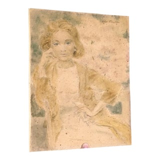Edo Pratini Impressionist Pastel Drawing Woman For Sale