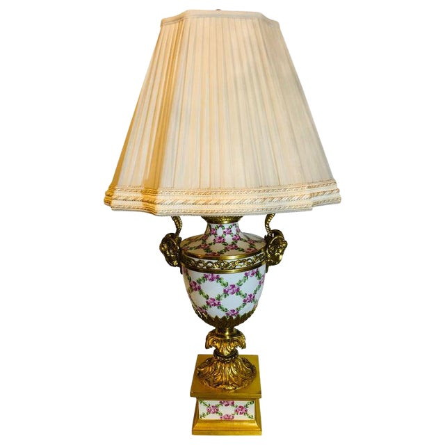 French Table Lamp Trellis Floral Porcelain Urn With Rams Head Gilt Bronze Mounts For Sale