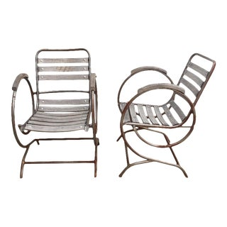1940s Vintage French Garden Chairs - A Pair For Sale