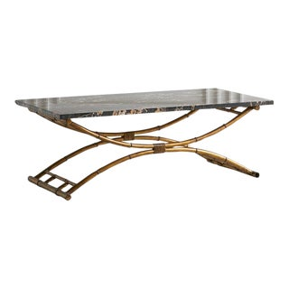 Portoro Black Marble Coffee Table With Gold Bamboo Base For Sale