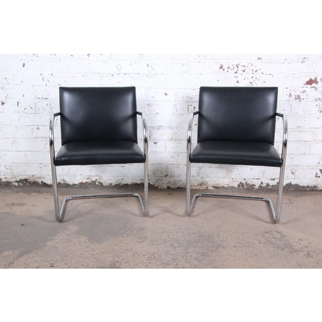 Mies Van Der Rohe for Knoll Black Leather and Chrome Brno Chairs - Set of 6 For Sale In South Bend - Image 6 of 13