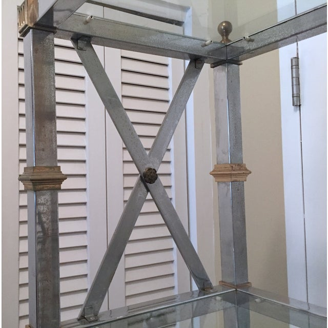 Silver Maison Jansen Style Chrome & Brass Etagere For Sale - Image 8 of 9