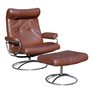 Vintage Mid Century Modern Ekornes Stressless Lounge Chair & Ottoman Chrome Base For Sale
