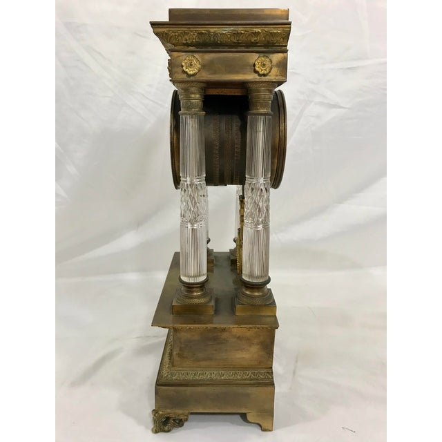 French Baccarat and Bronze French Empire Mantle Clock For Sale - Image 3 of 7