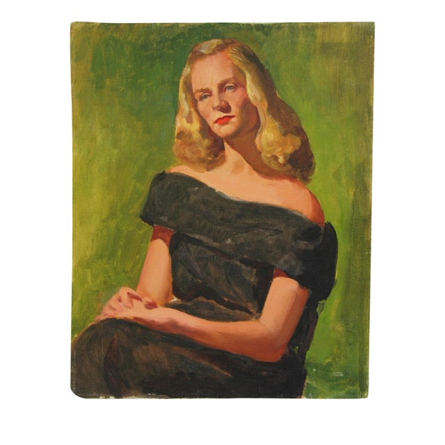 Mid-Century Lady with Golden Hair Oil Portrait - Image 1 of 7