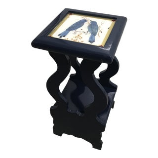 Refinished Navy Lacquered With Bird Design Paper Top Inlay Side Table