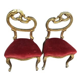 Hollywood Regency Red Velvet & Gold Gilded Chairs - a Pair For Sale