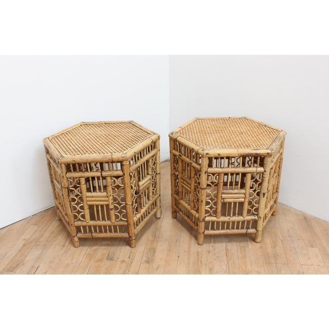 Brighton Pavilion Chinese Chippendale Hexagonal Side Tables- Brighton Pavilion Pair For Sale - Image 4 of 10