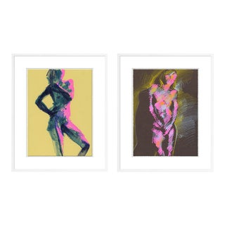 Figure 7 & 8 Diptych by David Orrin Smith in White Frame, XS Art Print For Sale