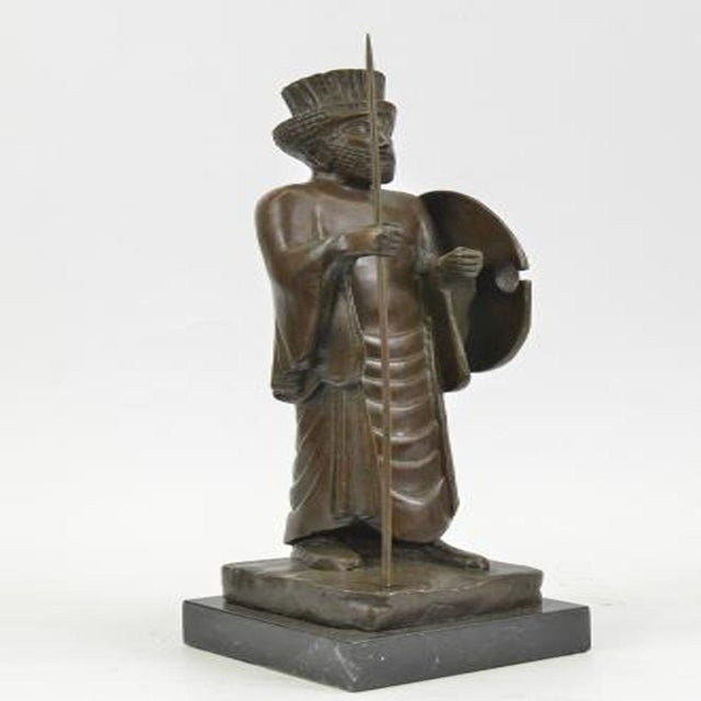 Metal Cyrus the Great Persian King Kanaev Bronze Sculpture Marble Base Statue For Sale - Image 7 of 9