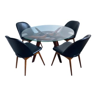 Adrian Pearsall Compass Table and Scoop Dining Chairs - 5 Pieces For Sale