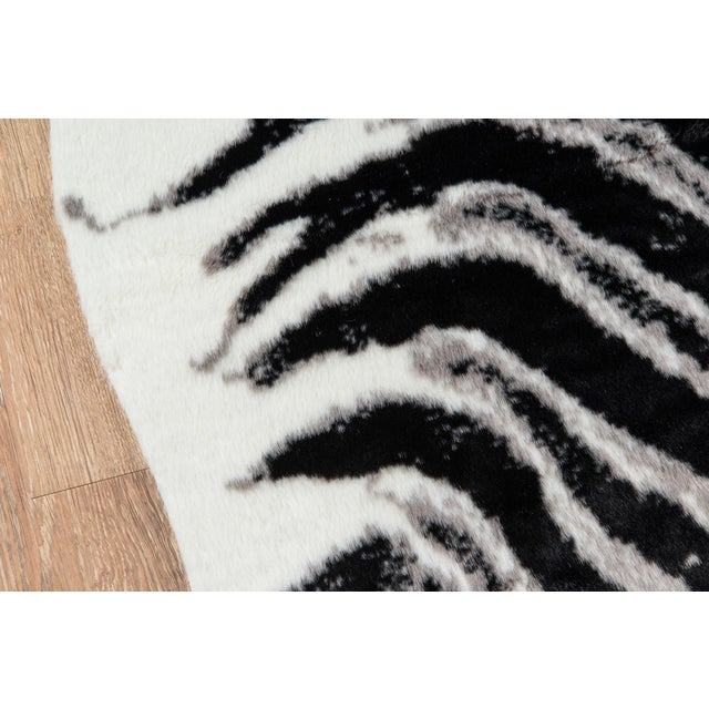 "Modern Erin Gates by Momeni Acadia Zebra Black Faux Hide Area Rug - 5'3"" X 7'10"" For Sale - Image 3 of 7"