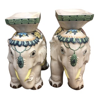 Reunited Pair of Mid Century Garden Elephants For Sale