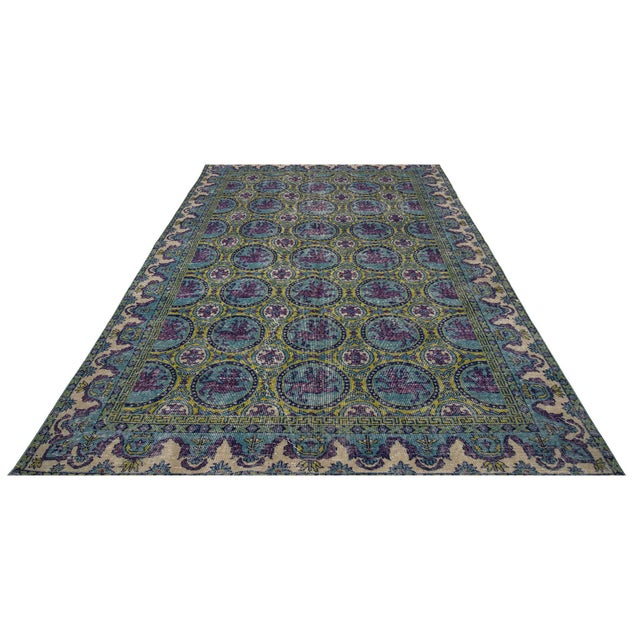 Handknotted vintage art deco rug from Oushak region of Turkey. Approximately 50-60 years old.In very good condition