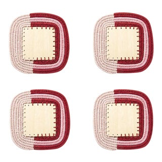 Square Stripe Coasters Blush/radish & Peony - Set of 4 For Sale