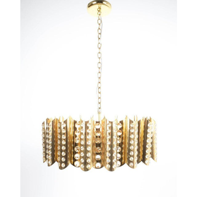 Brass Large Gold-Plated Brass Glass Chandelier Lamp Attributed to Gaetano Sciolari For Sale - Image 7 of 9