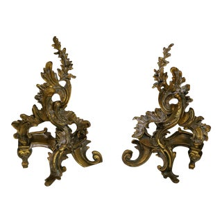 Antique Large Art Nouveau Bronze Fireplace Andirons - A Pair