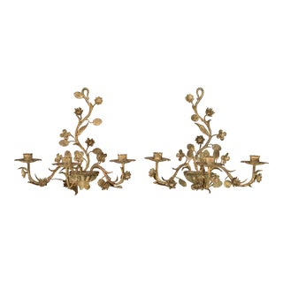 Italian Gilt Tole Candle Sconces, a Pair For Sale