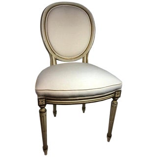 French Style Louis XVI Style Distressed Finish Dining Side Chairs - Set of 10 For Sale