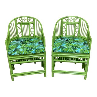 Vintage Lacquered Lime Green Palm Cushions Chairs - a Pair For Sale