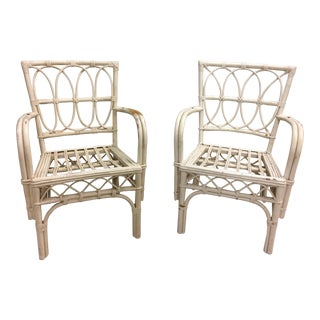 1950s Boho Chic Rattan Chairs - a Pair For Sale