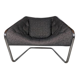 Mid-Century Modernist Tubular Angled Cantilever Chair and Metallic Upholstery For Sale