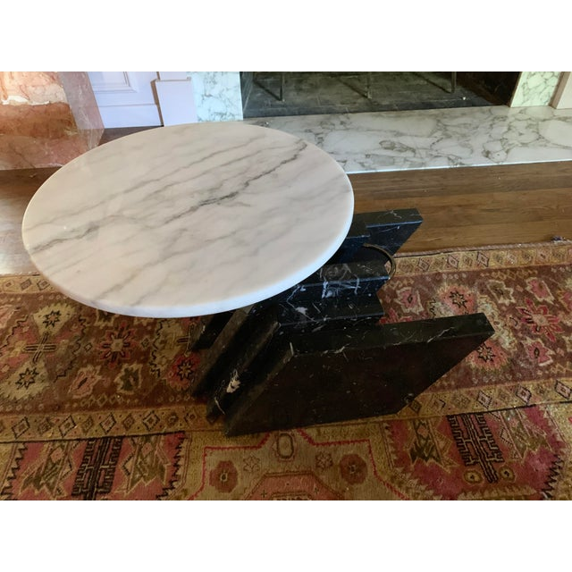 1980s Modern Stacked Marble Table With Rotating Top For Sale - Image 10 of 10
