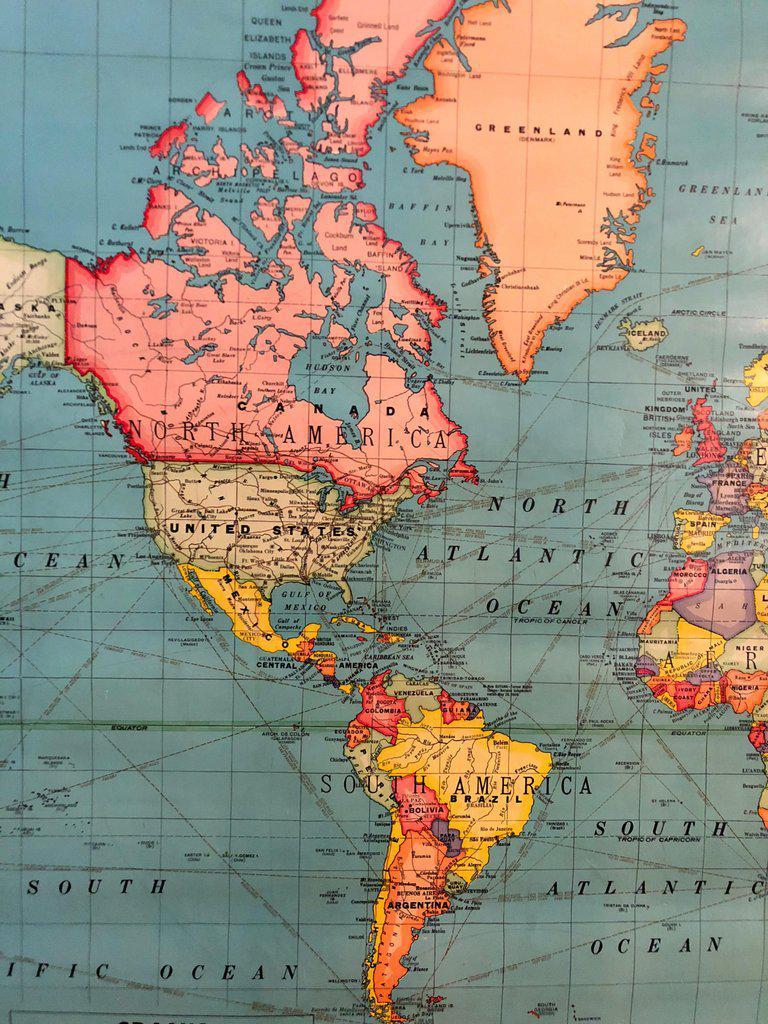1950s Vintage Retro Roller Wall World Map   Chairish