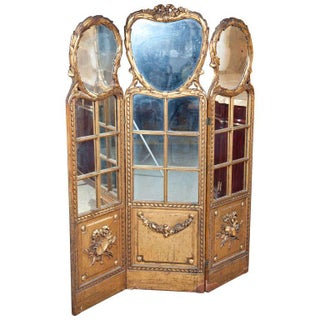 French Gilt & Mirrored Three Panel Divider For Sale
