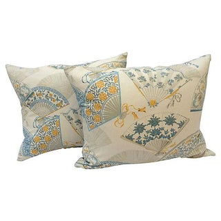 Chinese Fan Print Pillows - A Pair For Sale