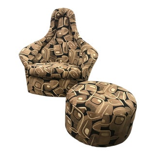 Adrian Pearsall Swivel Lounge Chair & Ottoman For Sale