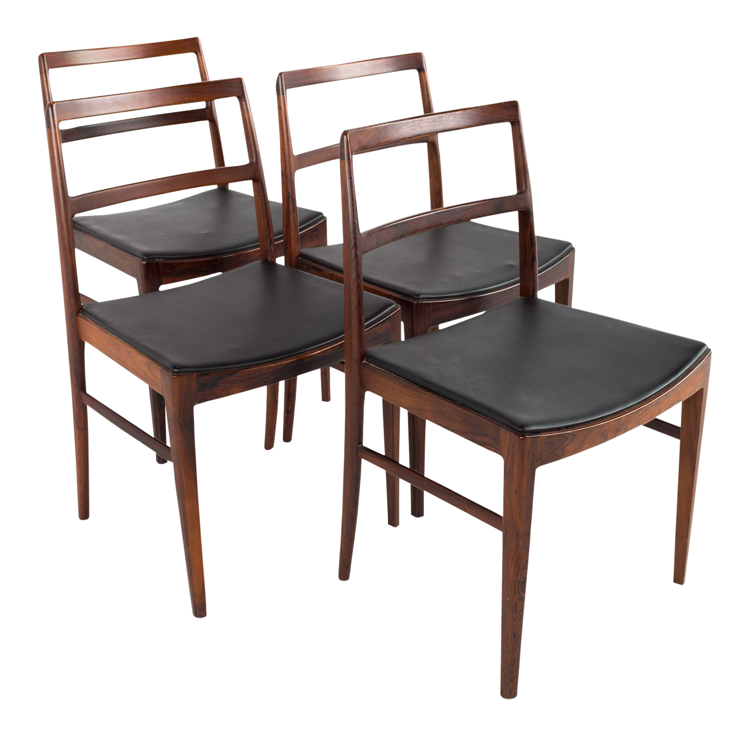 1960s Vintage Arne Vodder For Sibast #430 Rosewood And Leather Dining Chairs    Set Of 4