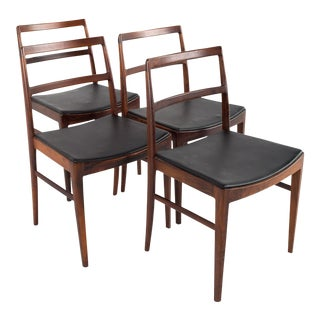 Arne Vodder for Sibast Mid Century #430 Rosewood and Leather Dining Chairs - Set of 4 For Sale