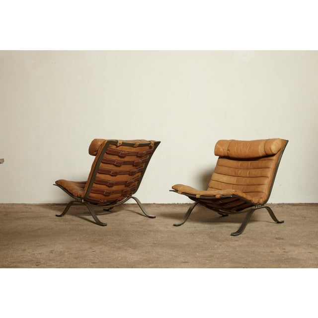 Animal Skin Pair of Arne Norell Tan Leather Ari Chairs, Norell Mobler, Sweden, 1970s For Sale - Image 7 of 11