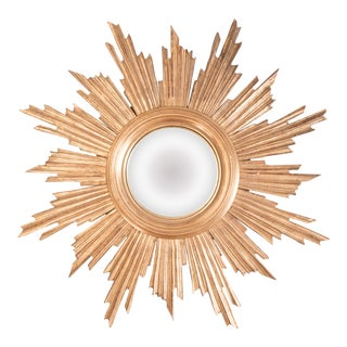 Antique French Giltwood Convex Sunburst Mirror For Sale