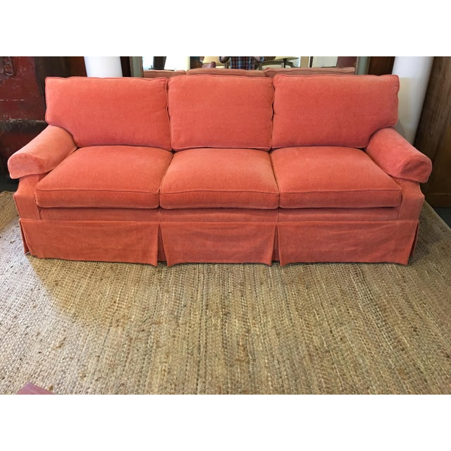 Chenille Skirted Sofa: Transitional Coral Chenille Fabric Sofa