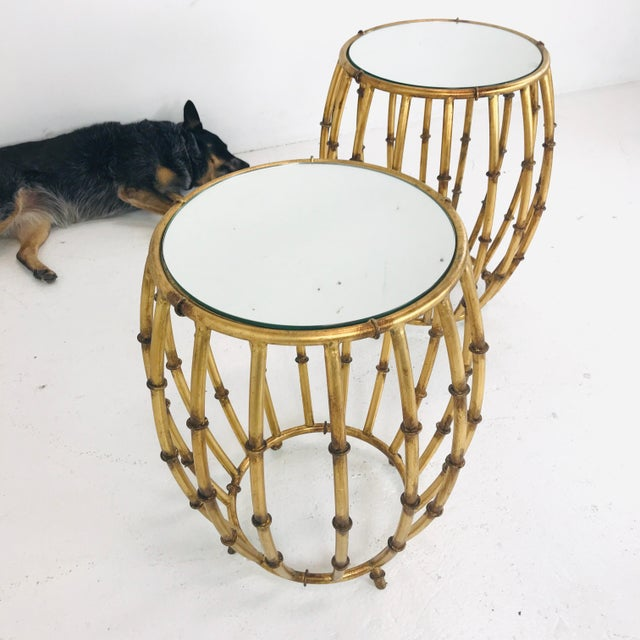 Mid-Century Modern Pair of Gold Faux Bamboo Drum Side Tables With Mirrored Tops For Sale - Image 3 of 12