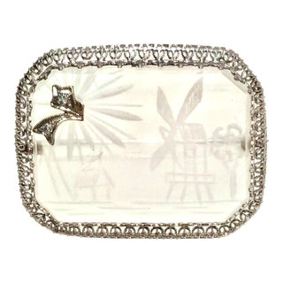 Antique Platinum Etched Crystal & Diamond Brooch For Sale