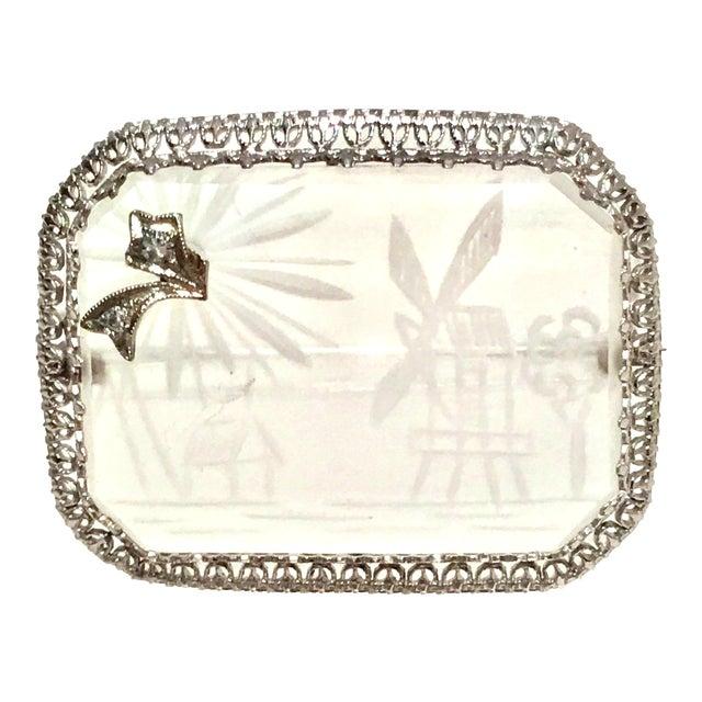 Antique Platinum Etched Crystal & Diamond Brooch For Sale
