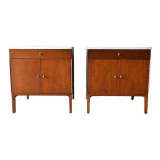 Paul McCobb Walnut and Marble Nightstands or End Tables, Circa 1960 - a Pair For Sale