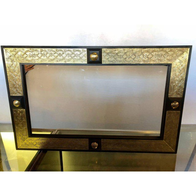 Hollywood Regency Style Gold Brass Morrocan Mirrors - a Pair For Sale In New York - Image 6 of 9
