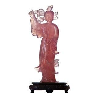 Vintage Rose Quartz Quan Yin For Sale