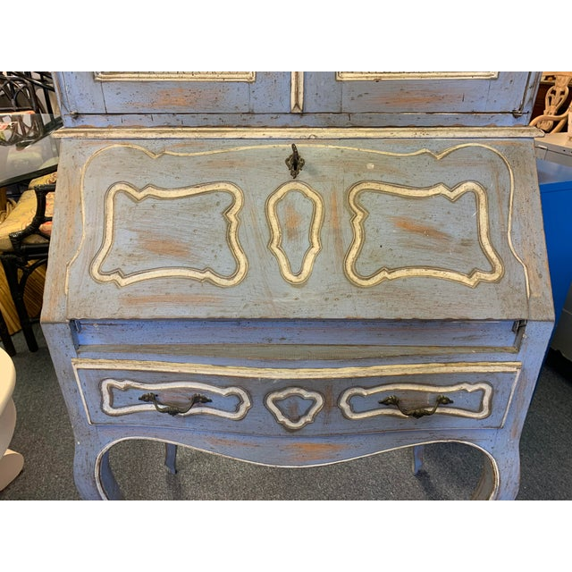 Vintage French Country Gustavian Blue Drop Front Secretary For Sale In West Palm - Image 6 of 13
