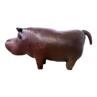 Vintage Leather Hippopotamus Footstool Stool After Abercrombie Fitch For Sale