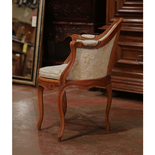 Green Set of Four Early 20th Century French Louis XV Carved Walnut Desk Armchairs For Sale - Image 8 of 12